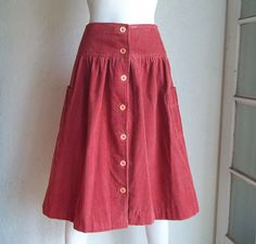 Vintage 70s GINGER TREE Preppy Cotton Corduroy Midi Skirt Sz M W26 by funquejunque