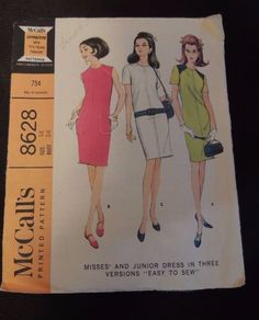 Vintage McCall's sewing pattern #8628, 1966 Sheath Dress, size 14, bust 34