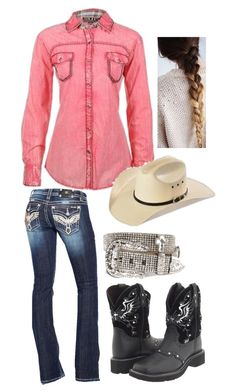 Pink Rodeo by gunpowderprincess on Polyvore featuring polyvore, fashion, style, Miss Me, Justin, Nocona, women's clothing, women's fashion, women, female, woman, misses and juniors