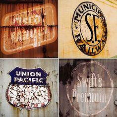 vintage train car logos