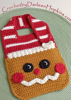 Crochet pattern Gingerbread Baby Bib Drool Bib Spit Bib Burp Bib Food Bib for Christmas babies and t Crochet Baby Bibs, Crochet Baby Blanket Beginner, Crochet Baby Clothes, Crochet For Kids, Baby Knitting, Crochet Hats, Crochet Children, Crochet Collar, Bib Pattern