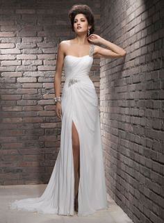 Glamorous slit front style weddng gown by Maggie Sottero style Renee Bridal Gown