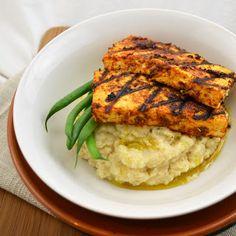 Weekly Vegan Menu: Cajun Tofu over Celery Root Puree