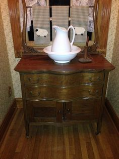 Antique Wash Stand with Ironstone Pitcher and Bowl