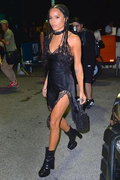 Zoe Kravitz at the Alexander Wang #New York #Fashion Week SS17 show in a #lace-trim negligee slip dress with chunky ankle boots and a buckle choker
