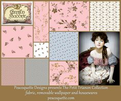Peacoquette Designs present Petit Trianon. A rococo inspired, shabby chic collection in Dauphine Pink, Versailles Fog Blue and Gilt