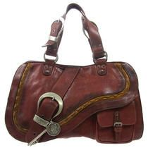 Auth Christian Dior Gaucho Hand Tote Bag Leather Brown Italy Vintage Ww14121 Photo