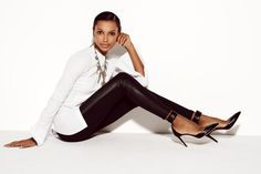 J.Crew Collection leather pixie pant worn with the Quinn ankle-cuff pumps.