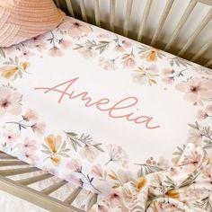 Maeve's Mauve & Mustard Floral Personalized Crib Sheet | Caden Lane Rose Nursery, Floral Nursery, Nursery Prints, Nursery Wall Art, Girl Nursery, Nursery Design, Nursery Ideas, Floral Crib Sheet, Girl Cribs