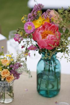 Love the idea of mixing a few big store bought flowers with tons of wild flowers
