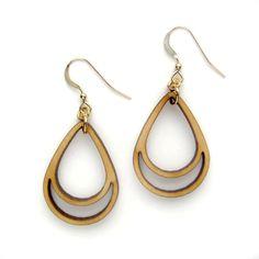 Laser Cut Wood Earrings / Simple Drop / Geometric by ShopJoyo, $35.00 pretty