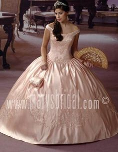 Perfect ball gown off the shoulder neckless rose pink floor-length quinceanera gown - Top Seller Quinceanera Dresses