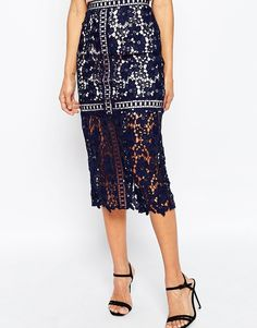 Image 4 of ASOS Lace Pencil Skirt