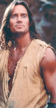 Kevin Sorbo - the muscles don't hurt, and I love love love that they didn't shave his chest, but the main things that I enjoy are his voice and his kind demeanor.
