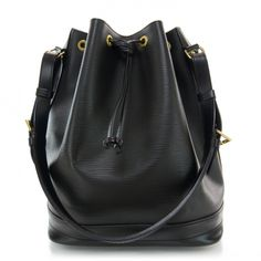 This is an authentic LOUIS VUITTON Epi Noe in Black.   This chic bucket style tote is crafted of Louis Vuitton signature textured epi leather.