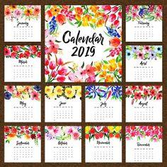2019 Watercolor FloraL Annual Calendar Cute Calendar, 2019 Calendar, Planners, Calendar Wallpaper, Floral Printables, Bullet Journal Inspiration, Printable Planner, Printable Calender, Floral Watercolor