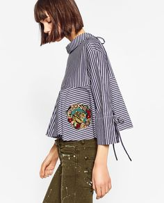 STRIPED AND EMBROIDERED SHIRT-TOPS-TRF | ZARA United States