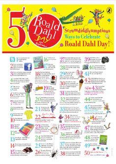 Poster: 50 Scrumdiddlyumptious Ways to Celebrate Roald Dahl Day - Sept Roald Dahl Day, Roald Dahl Books, Roald Dahl Activities, Library Activities, Library Lesson Plans, Library Lessons, Library Skills, Library Ideas, Primary Teaching