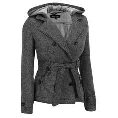 Black Rivet Double Breasted Belted Jacket w/Hood Was: $200.00                     Now: $49.99