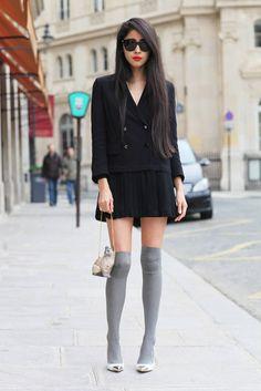 black dress + gray knee highs
