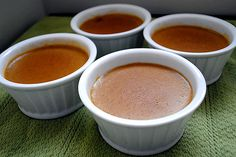 Vegan Pumpkin Custard    ( Serves 8 )    Prep. time: 20 minutes,  Chill time: 2 hours    -2-14 oz cans coconut milk  -2 1/2 tsp. vanilla extract  -2 tsp. agar  -1/4 cup agave syrup  -2 Tbsp. + 2 tsp. brown sugar  -2 tsp. pumpkin pie spice  -1 1/2 cups pumpkin puree  -Dash of salt  Whisk all ingredients together in a medium-sized pan, and bring to a boil.  Reduce heat, simmer 15 minutes.  Divide mixture between 8 ramekins.  Cool in refrigerator at least 2 hours before serving.