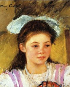 Ellen Mary Cassatt With A Large Bow In Her Hair by Mary Cassatt.