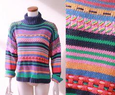 Vintage  80s/90s  Blue Pink Teal Orange  Rainbow by starlingdarlin