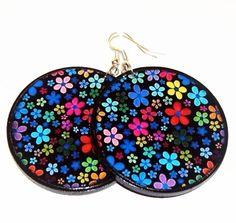 Flowers earrings decoupage earrings circle gift for by SzaraLotka, $12.00