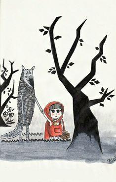 """Now we kill the woodsman…"" Little Red Ridding Hood, Red Riding Hood, Wolf Illustration, Big Bad Wolf, Wolf Girl, Tumblr, Ceramic Painting, Big Eyes, Illustrators"