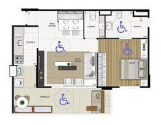 Plantas de casas adaptadas para cadeirantes Layouts Casa, House Layouts, 2 Bedroom House Plans, House Floor Plans, Home Design Plans, Plan Design, Co Housing, Apartment Layout, Architecture Plan