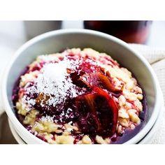 Sweet risotto with poached tamarillo recipe - By New Zealand Woman's Weekly, Experiment with different ingredients to keep life, and food, interesting!