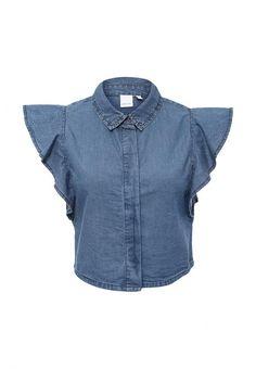 Блуза LOST INK FRILL SLEEVE DENIM SHIRT Блуза LOST INK. Цвет: синий.  Сезон: Весна-лето 2016. Одежда, обувь и аксессуары/Женская одежда/Одежда/Блузки и кофточки