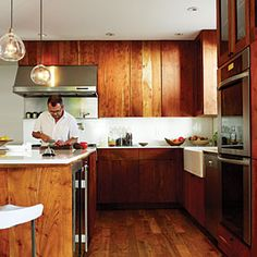 Unfinished wood cabinets give this kitchen a cool, rustic vibe