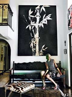 Mario Testino's L.A. home:  that bamboo print is awesome not to mention Natalia Vodianova