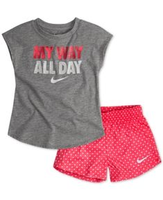 ade3aef5e8f7d Nike Little Girls 2-Pc. Graphic-Print T-Shirt   Printed Shorts Set    Reviews - Sets   Outfits - Kids - Macy s