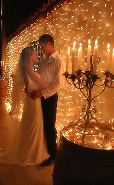 Easy and glamour DIY way to decorate a boring white wall (maybe even behind you as you take your vows). Imagine the gorgeous photos you could get of a ceremony held against a wall of twinkle lights and a candelabra. Wedding Bells, Diy Wedding, Wedding Photos, Dream Wedding, Wedding Day, Wedding Ceremony, Wedding Reception Lighting, Wedding Stuff, Wall Of Light