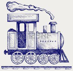 old railway: Selvagem locomotiva a vapor Ocidente. Trem do brinquedo. Estilo Doodle