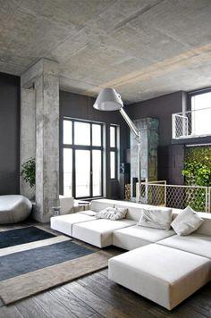 Livingroom with concrete details  FOTO: Vyacheslav Balbek