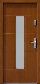 Drzwi zewnętrzne nowoczesne model 466,4 w kolorze dąb średni