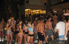 A nighttime party at UCSB.