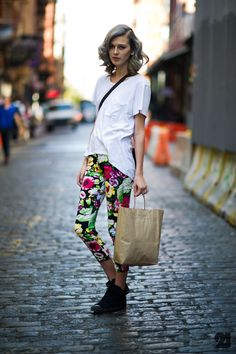 ankle boots + floral jeans + white tee + satchel