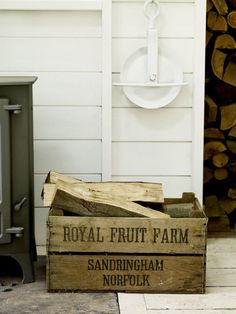 Old Fruit Crate    Fabulous and genuine old fruit crates from the Sandringham Estate in Norfolk. Perfect for storing logs, newspapers and kindling, turn it on it's side as a side table or stack them to create an inpromtu shelving system. A really great find!