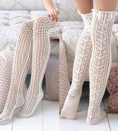 Exquisite thigh-highs, worked in the round from the toe up shows some serious leg. The flowery lace that runs up the back and the miniature leaf-lace pattern in front are flanked at the sides by cables that continue up into the cable-and-lace ribbed cuff. Sheer elastic woven through the top edge keeps things in place.