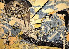 歌川国芳:<源頼光、土蜘蛛を斬る>Samurai to cut the monster spider