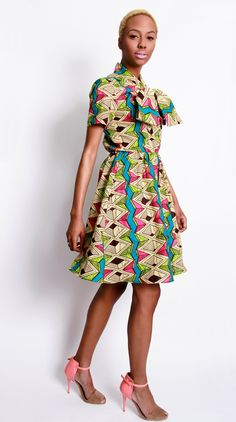 NEW The Minnie Bell- African Print  100% Holland Wax Cotton Dress. via Etsy.