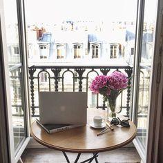 seewantshop:  Today's balcony workstation in my dreamy little Parisian @airbnb  #seewanttravel #paris  (at Saint Germain Des Prés)