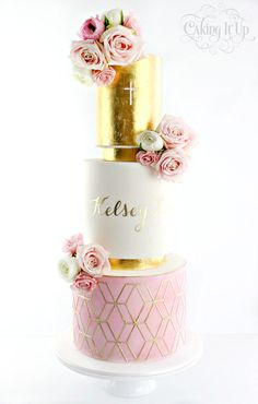 Three tier pretty christening cake with edible gold leaf, handpainted name, fresh flowers, watercolour and stencilled tier. Stencil available for purchase @ www.cakingitup.com.au (from Nov 2016) How to paint onto fondant tutorial at www.vimeo.com/ondemand/cakingitup