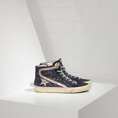 Sneakers SLIDE fabric embroidered with Glitter and Leather Star - G26D124.M2 - Golden Goose