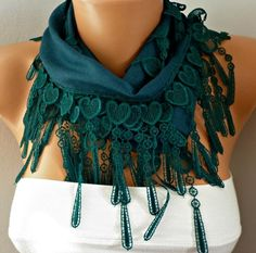 Green Heart Scarf  Pashmina Scarf Cowl Scarf   by fatwoman on Etsy, $16.00
