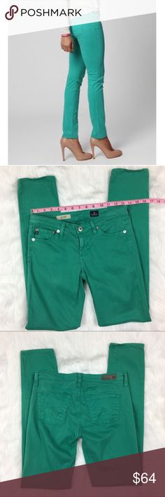 AG The Stilt Cigarette Leg Jeans AG Adriano Goldschmied Green The Stilt Cigarette Jeans in green. Size 25 regular with 7' rise and 30' inseam. Pre-owner condition with basic wear and light fading from wash.  ❌I do not Trade 🙅🏻 Or model💲 Posh Transactions ONLY Ag Adriano Goldschmied Jeans Skinny